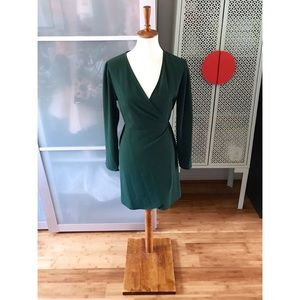 TOPSHOP Crepe Wrap Minidress in Forest Green